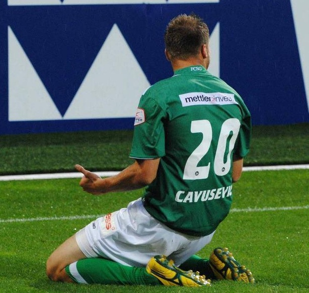 Dzengis Cavusevic celebrating goal for FC St. Gallen
