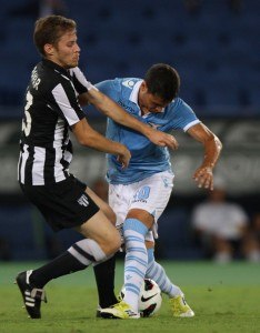 Denis Kramar (left) playing against Lazio